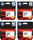 Set 4x Original HP Patronen 655 Mehrfarbig