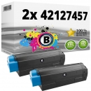 Set 2x Alternativ OKI Toner C5250 C5450 C5510 C5540 Schwarz