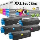 Set 5x Alternativ OKI Toner C5100 C5200 C5300 C5400