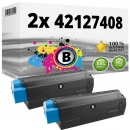 Set 2x Alternativ OKI Toner C5100 C5200 C5300 C5400 Schwarz