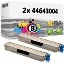 Set 2x Alternativ OKI Toner 44643004 Schwarz