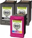 Set Alternativ HP Patronen 901 901XL 2x Schwarz + Color