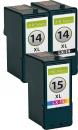 Set Alternativ Lexmark Patronen 2x 14/14a  + 15/15a